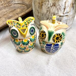 NEW Owl Painted Creamer and Sugar Bowl